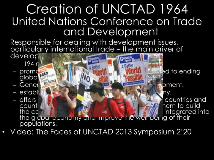 Creation of unctad 1964