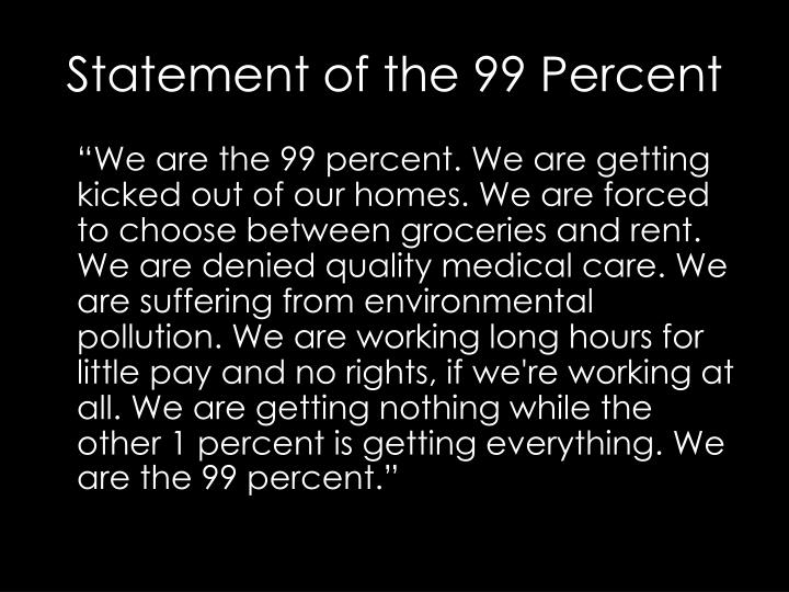 Statement of the 99 Percent