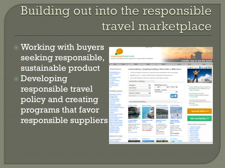 Building out into the responsible travel marketplace