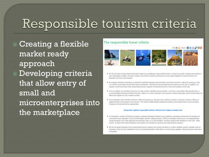 Responsible tourism criteria