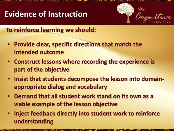 Evidence of Instruction