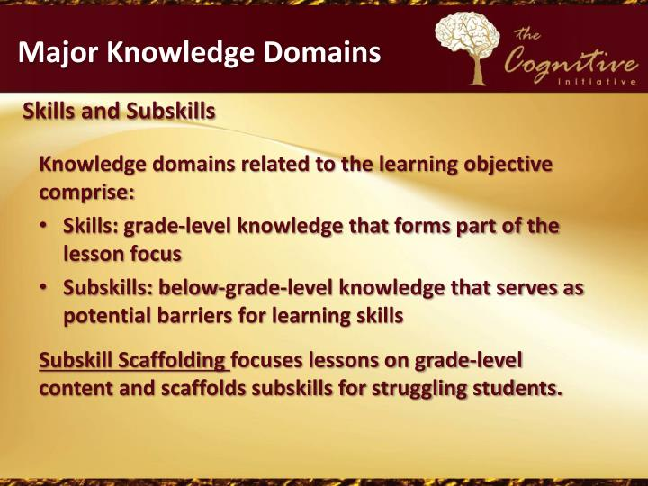 Major Knowledge Domains