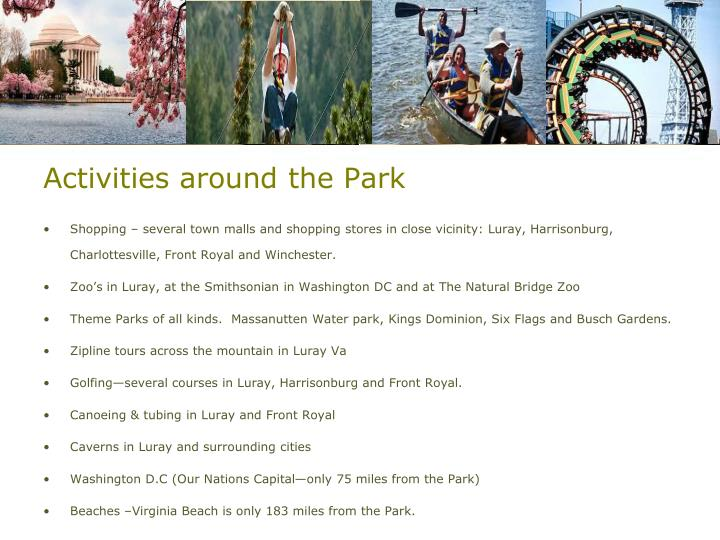 Activities around the Park