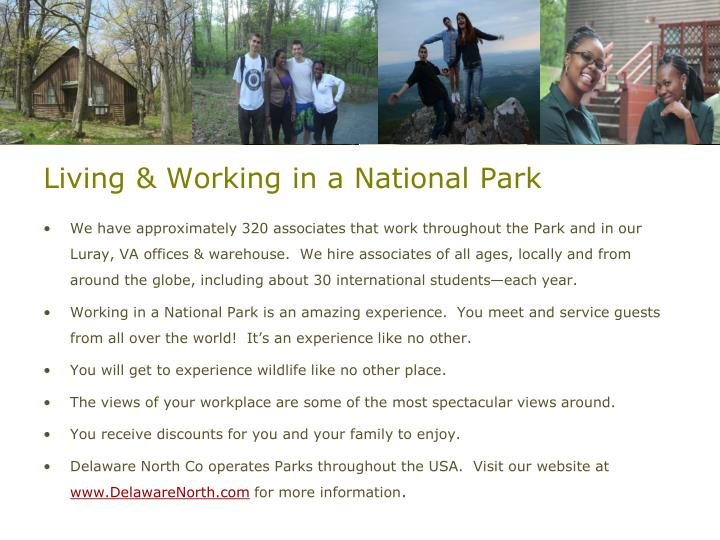 Living & Working in a National Park