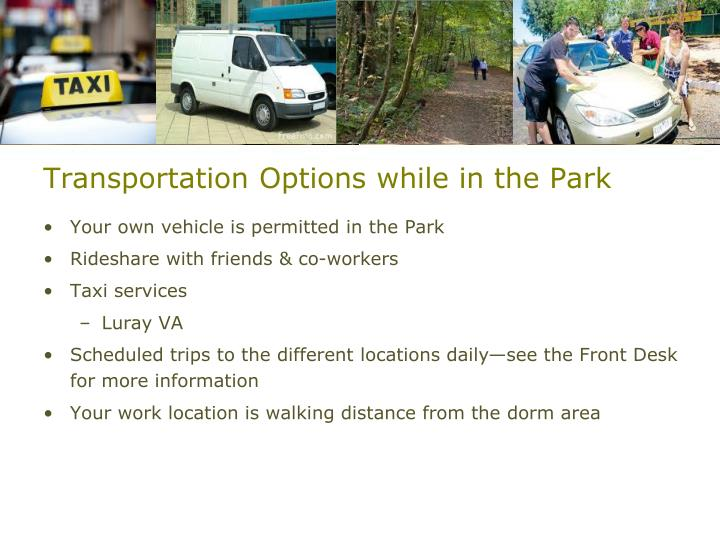 Transportation Options while in the Park