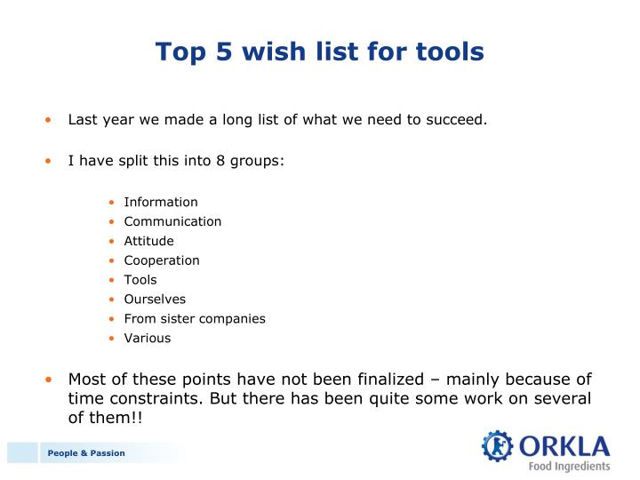 Top 5 wish list for tools