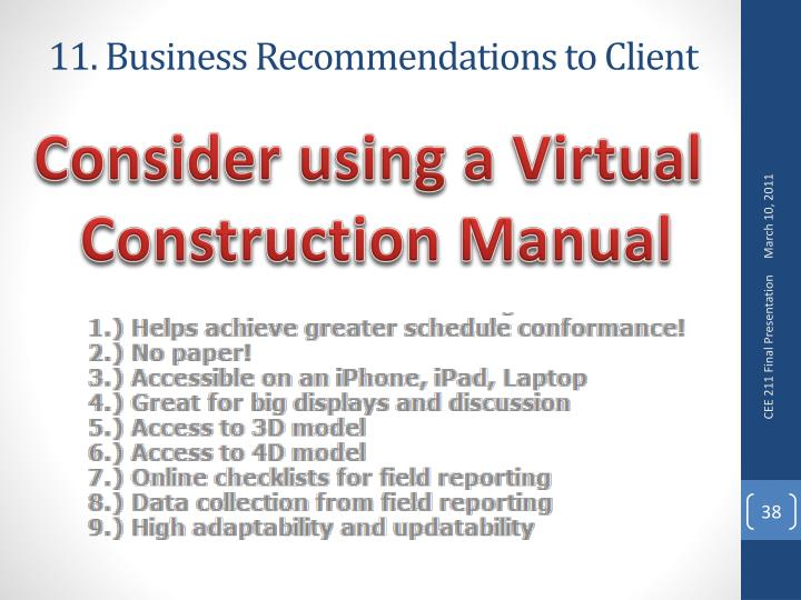 11. Business Recommendations to Client