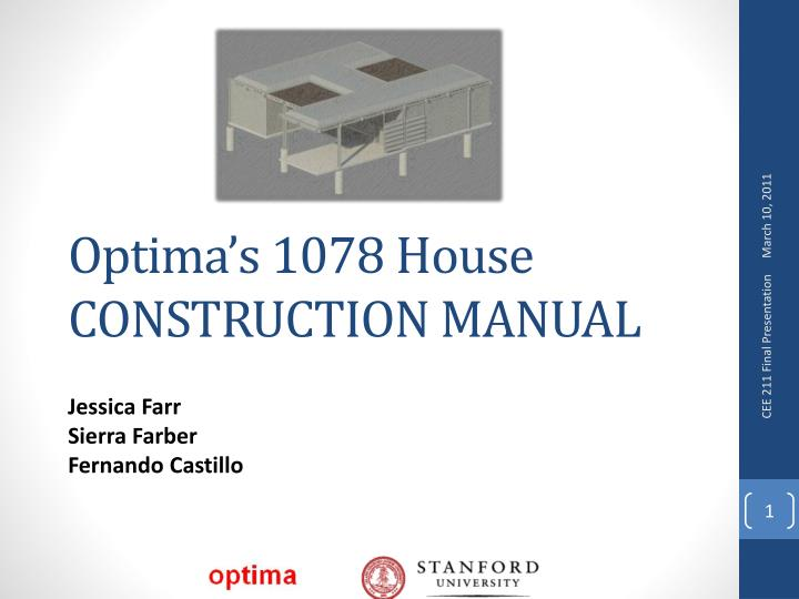 Optima s 1078 house construction manual