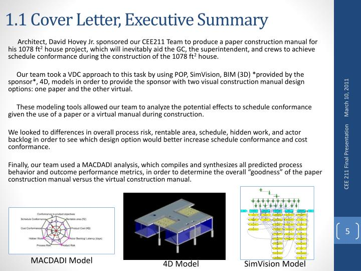 1.1 Cover Letter, Executive Summary