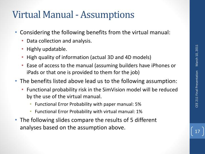 Virtual Manual - Assumptions
