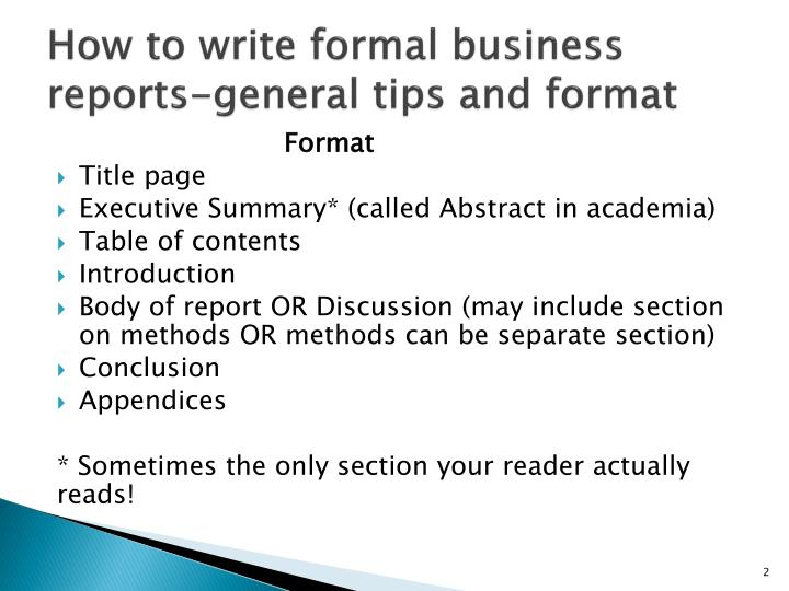 How to write formal business reports-general tips and format