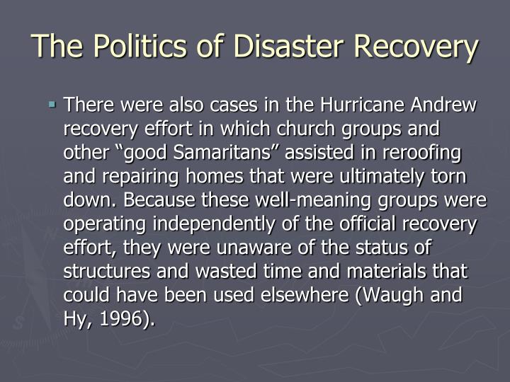 The Politics of Disaster Recovery