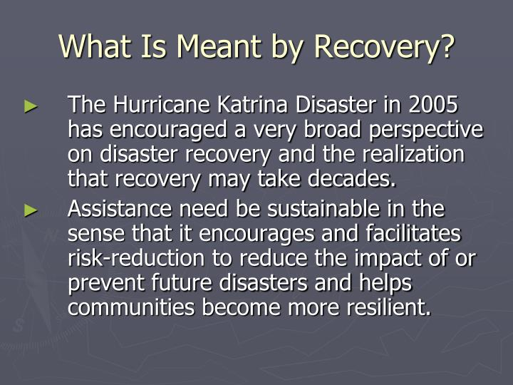 What Is Meant by Recovery?