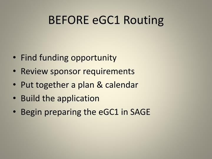 Before egc1 routing