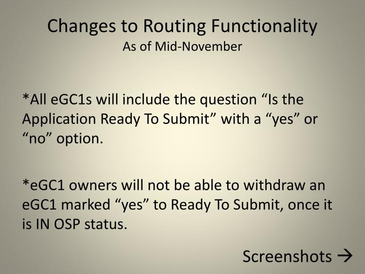 Changes to Routing Functionality