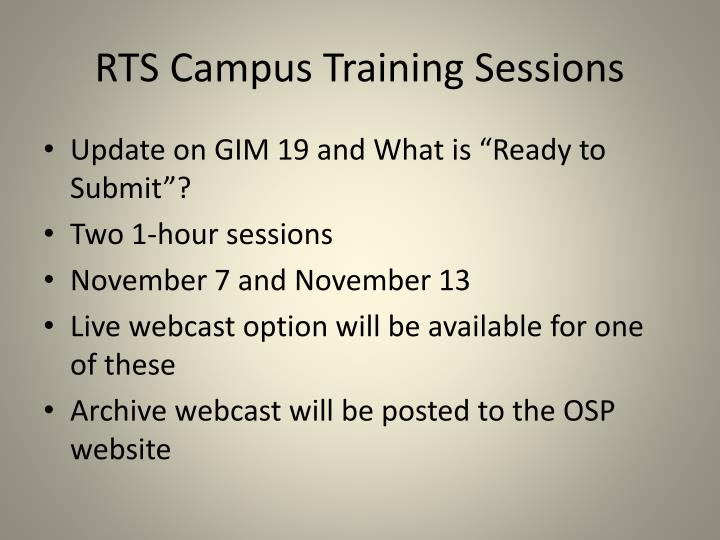 RTS Campus Training Sessions