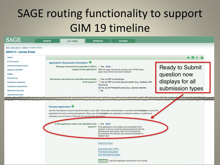 SAGE routing functionality to support GIM 19 timeline