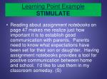 learning point example stimulate