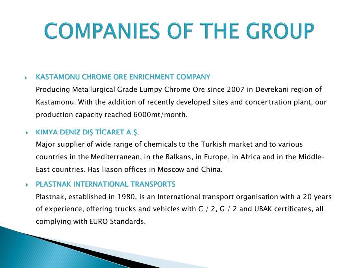 COMPANIES OF THE GROUP