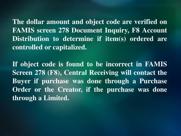 The dollar amount and object code