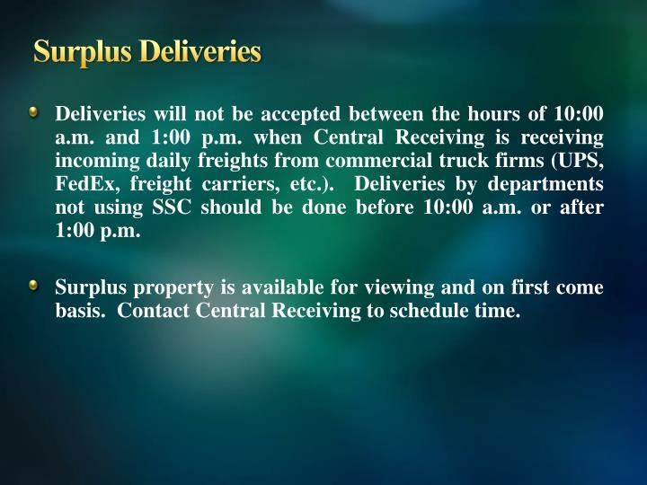 Surplus Deliveries