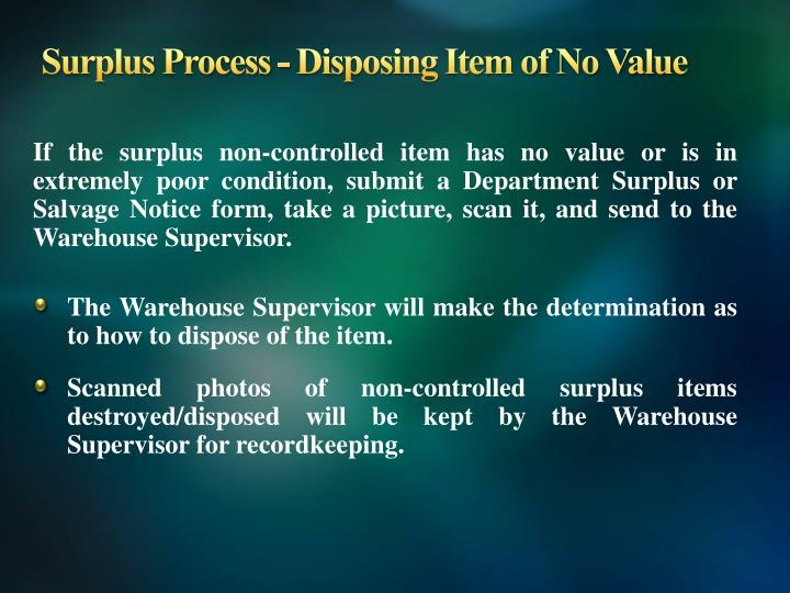 Surplus Process - Disposing Item of No Value