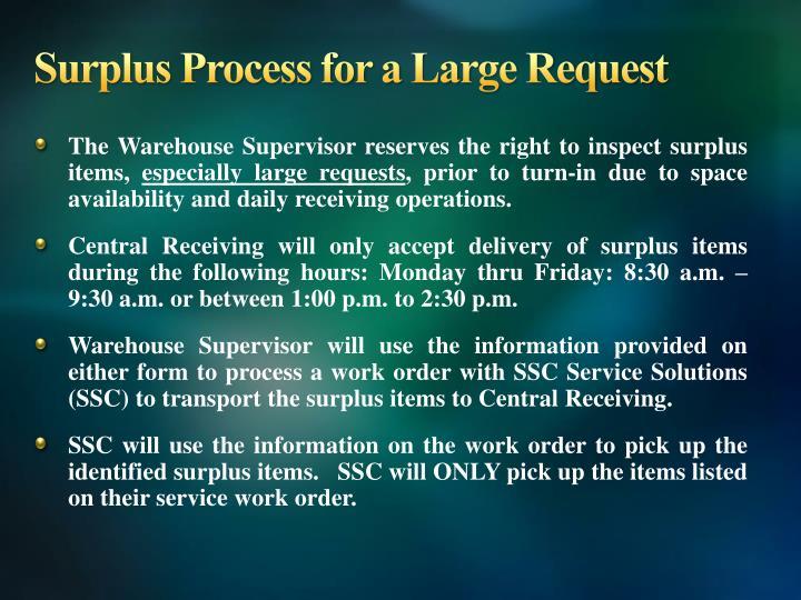 Surplus Process for a Large Request