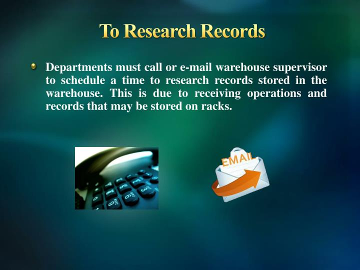 To Research Records