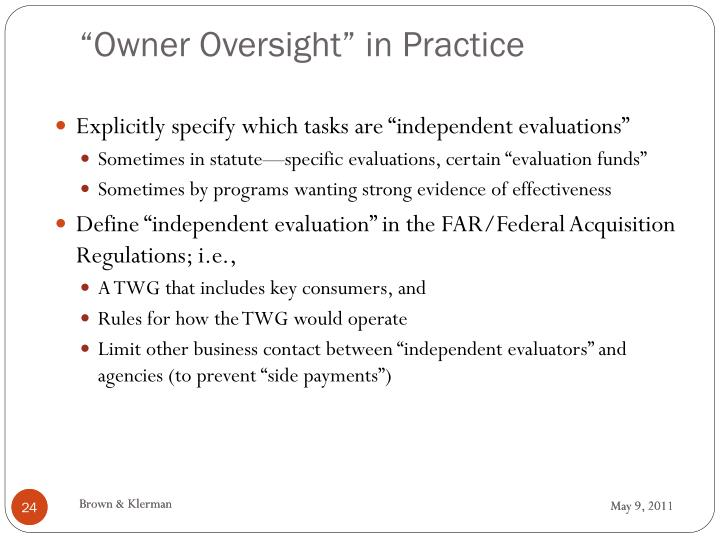 """Owner Oversight"" in Practice"
