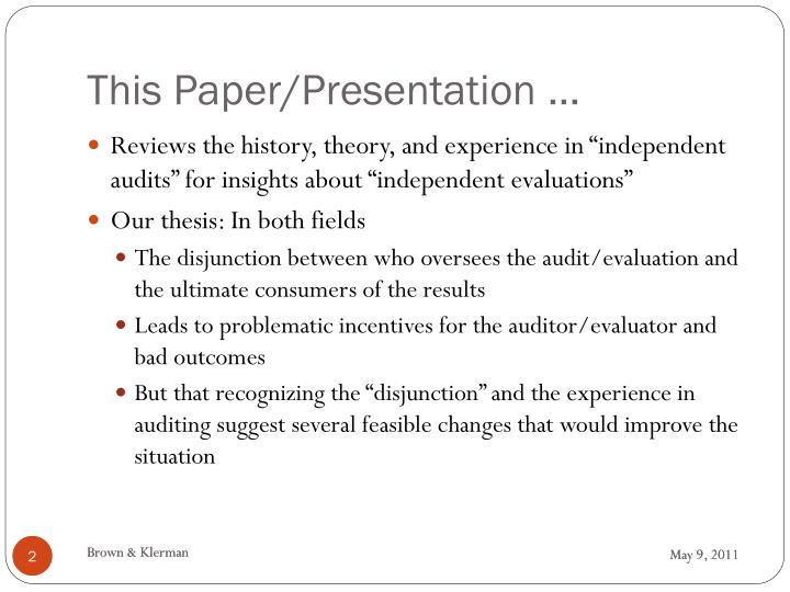 This paper presentation