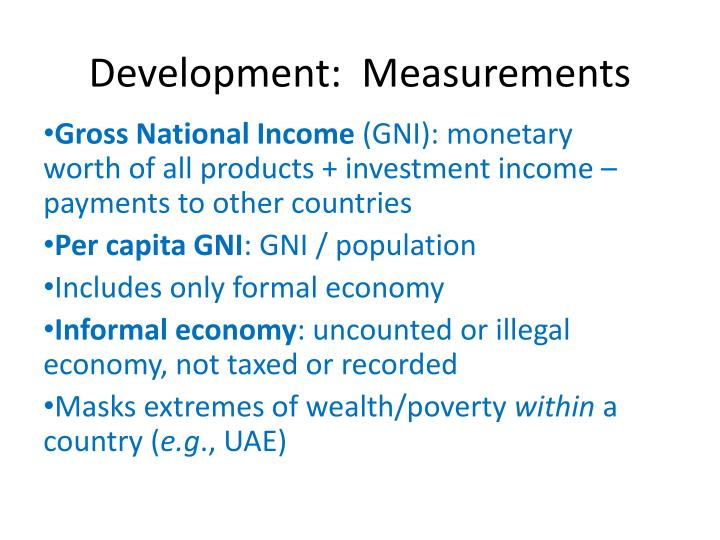 Development:  Measurements