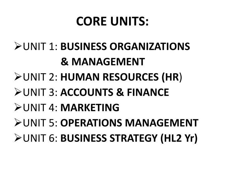 CORE UNITS: