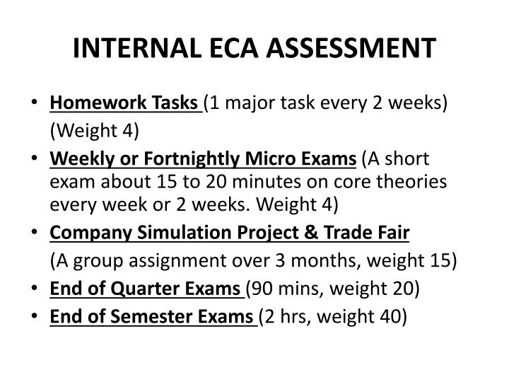 INTERNAL ECA ASSESSMENT