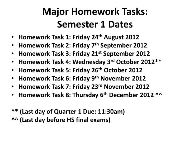 Major Homework Tasks: