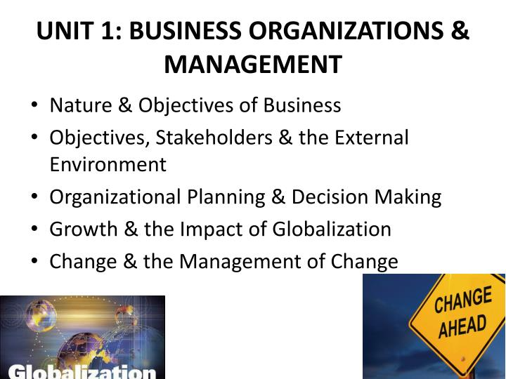 UNIT 1: BUSINESS ORGANIZATIONS & MANAGEMENT