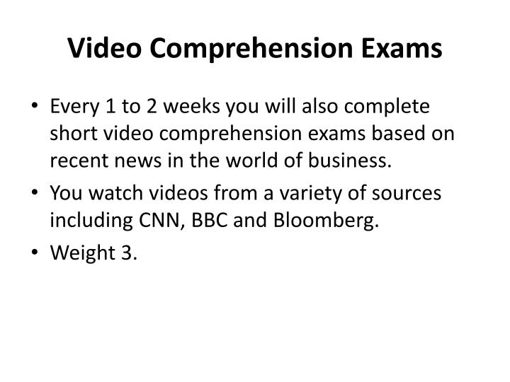 Video Comprehension Exams