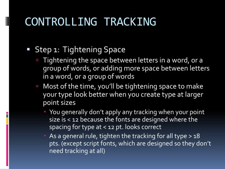 CONTROLLING TRACKING