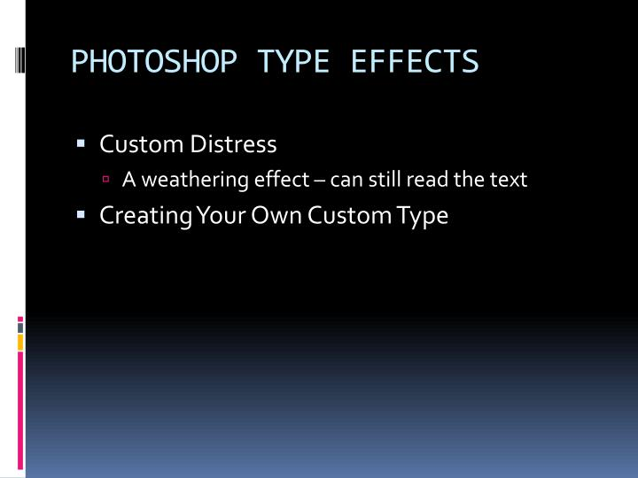 PHOTOSHOP TYPE EFFECTS