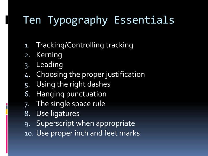 Ten typography essentials