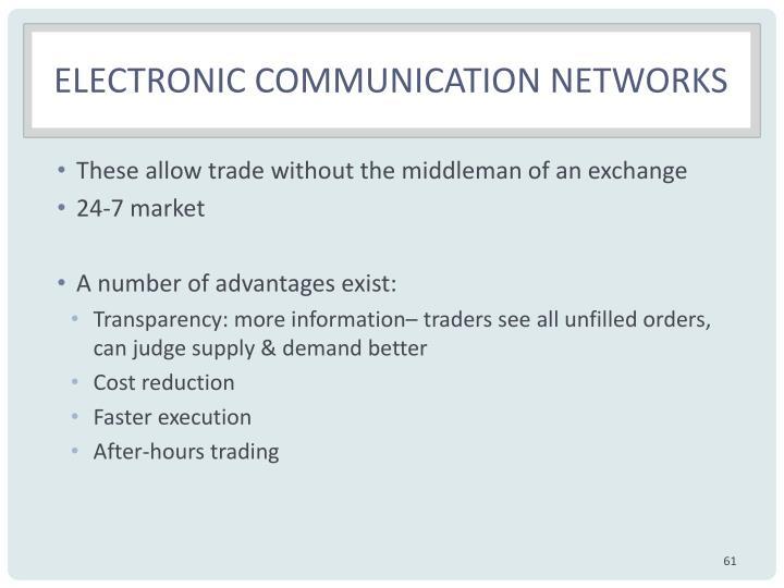 Electronic communication networks