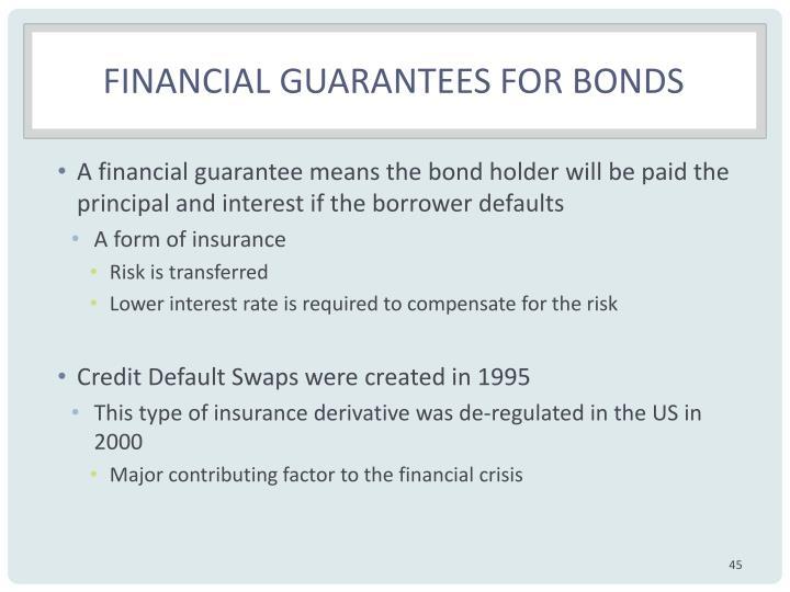Financial guarantees for bonds