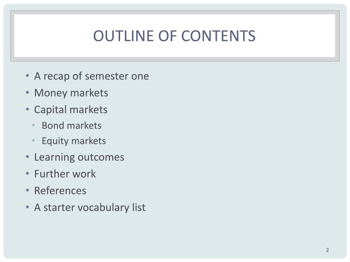 Outline of contents