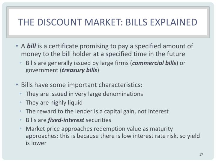 The discount market: Bills explained
