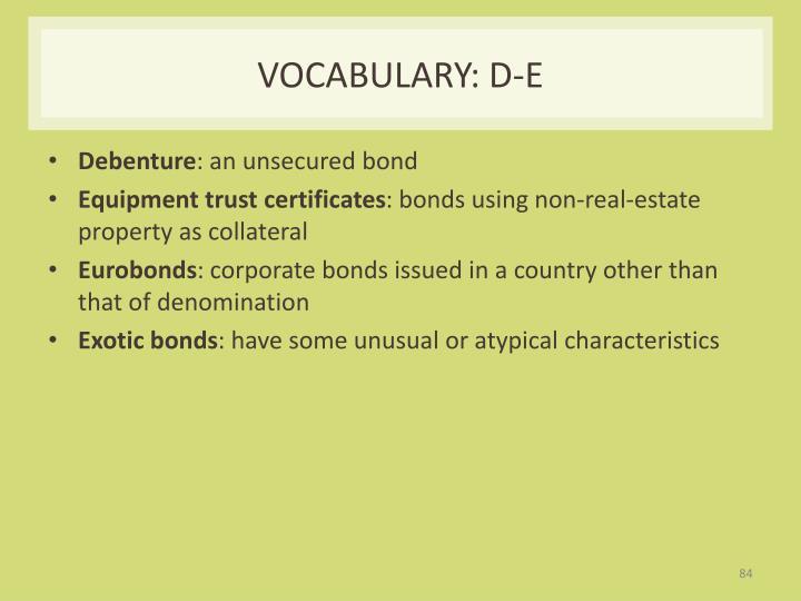Vocabulary: D-E