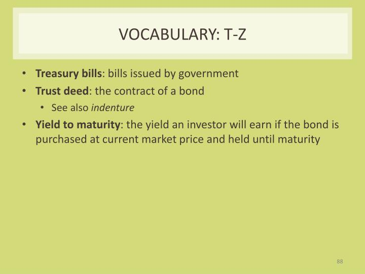 Vocabulary: T-Z