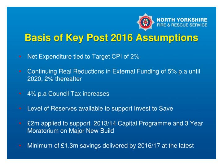 Basis of Key Post 2016 Assumptions