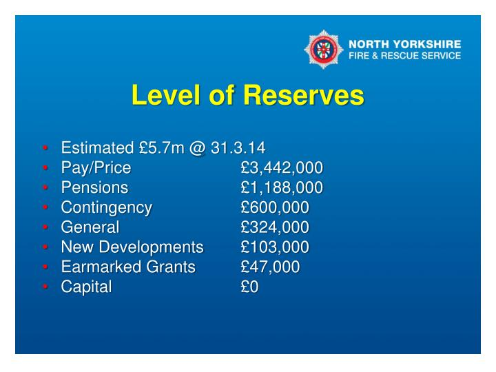 Level of Reserves