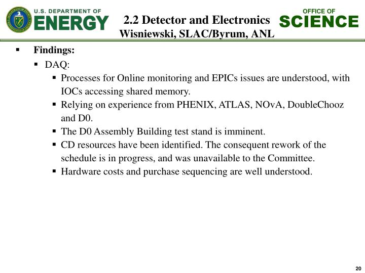 2.2 Detector and Electronics