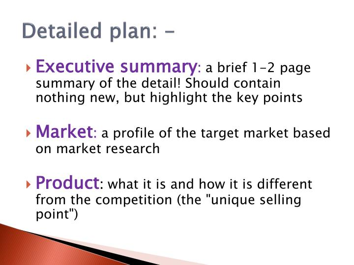 Detailed plan: -