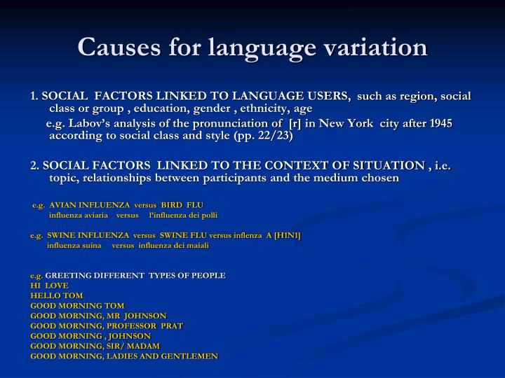 Causes for language variation